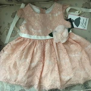 [Macy's] Baby Light Pink Lace and Floral Dress